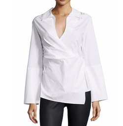 Long-Sleeve Wrap Blouse by Natori in Love, Rosie