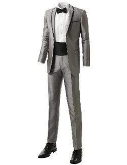 Mens Slim-fit Two-piece Double Vented Gray Tuxedo Suit by Idarbi in Hot Tub Time Machine 2