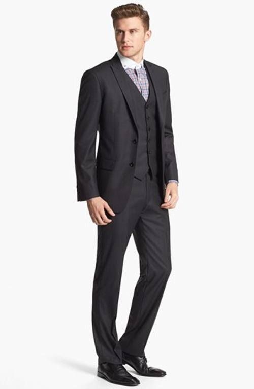 Trim Fit Three-Piece Wool Suit by John Varvatos Star USA in Jersey Boys