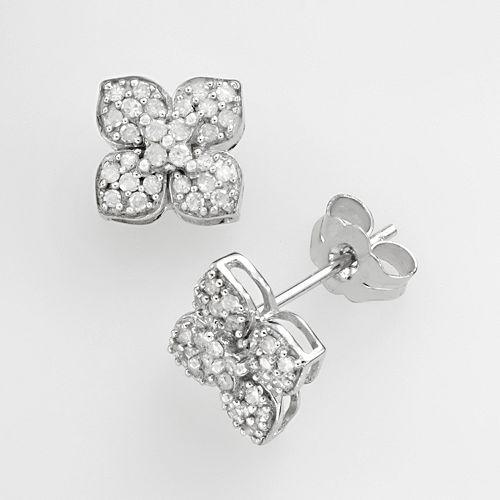 10k White Gold Diamond Lotus Flower Stud Earrings by Kohl's in Limitless