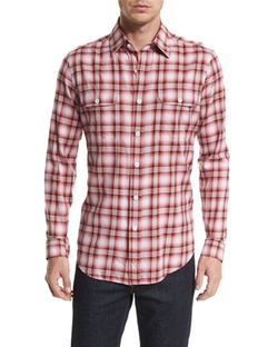 Plaid Tailored-Fit Sport Shirt by Tom Ford in The Bachelorette