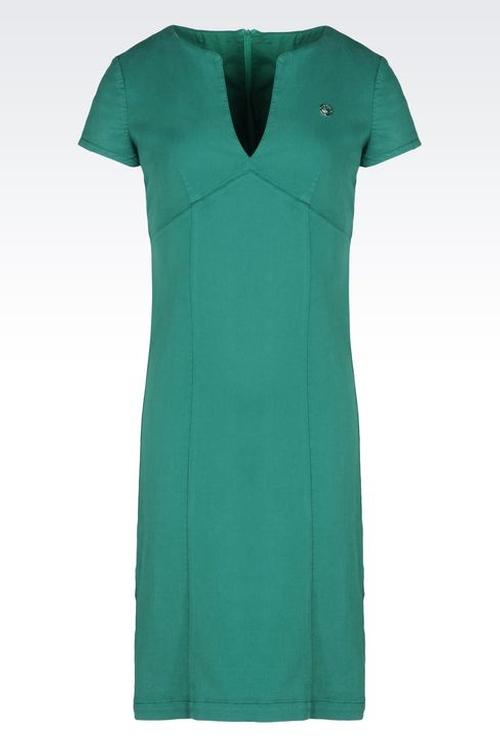 Cotton Blend Sheath Dress by Armiani Jeans in Spy