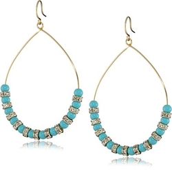 Turquoise and Crystal Beaded Hoop Earrings by Yochi in The Good Wife