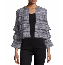 Tweed Tiered Ruffle Jacket W/ Fringe by Hiche in Friends From College