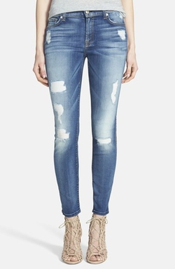Destroyed Ankle Skinny Jeans by 7 For All Mankind in Mistresses