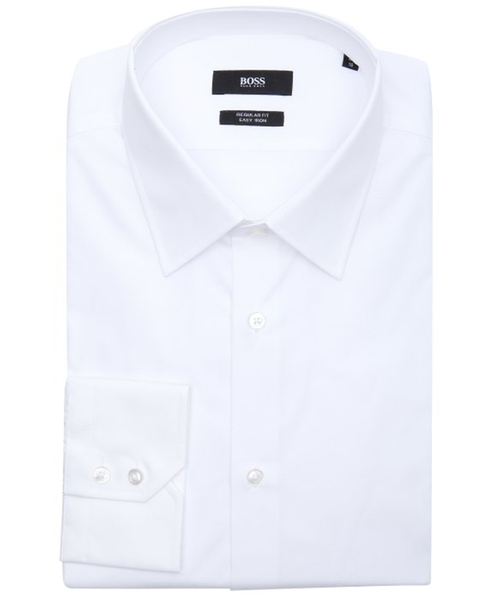 White Cotton Point Collar Dress Shirt by Hugo Boss in The Program