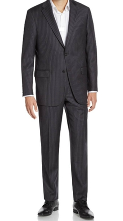 Pinstriped Worsted Wool Suit by Hickey Freeman in Rosewood