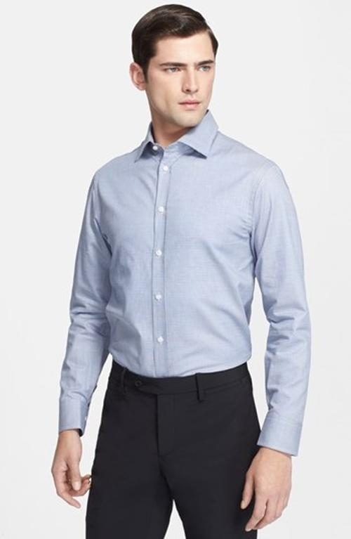 Slim Fit Check Grid Dress Shirt by Armani Collezioni in The Wolf of Wall Street