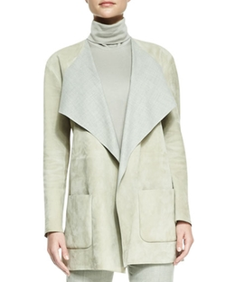 Helene Suede Drape-Neck Jacket by Ralph Lauren Collection in Billions