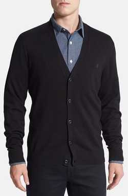 Slim Fit Stretch Cotton Cardigan by Victorinox Swiss Army in Suits