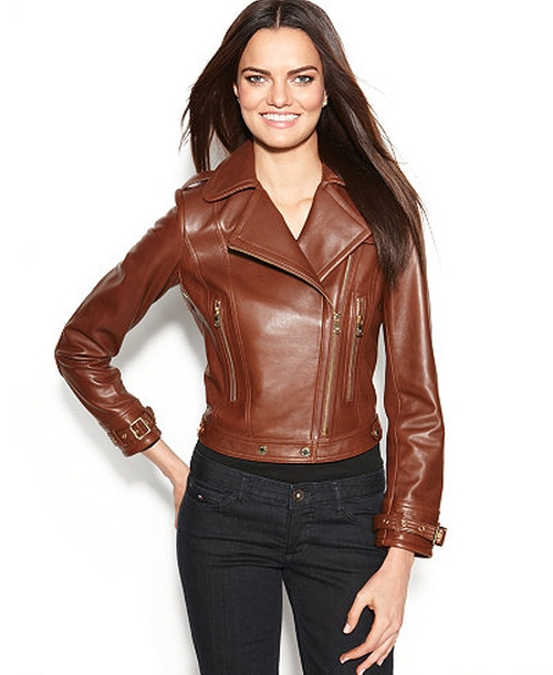 Leather Asymmetrical Moto Jacket by Calvin Klein in The Fundamentals of Caring