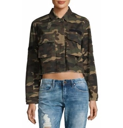 Two-Pocket Camo Cotton Short Jacket by Saks Fifth Avenue in Pitch Perfect 3
