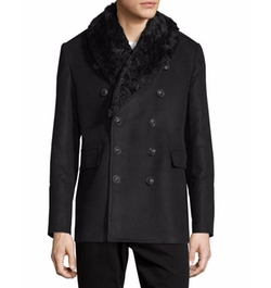 Moleskin Shearling-Lined Pea Coat by Burberry in Office Christmas Party
