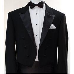 Italian Designer Men's Black Tail Tuxedo by King Formal Wear in The Great Gatsby