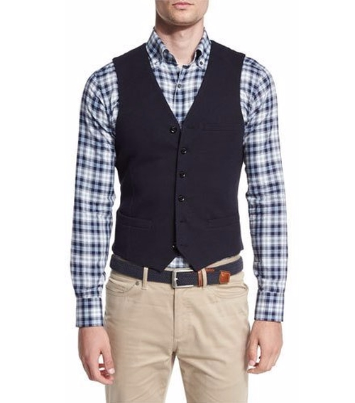 Yorkshire Cotton-Blend Waistcoat by Peter Millar in Suits - Season 5 Episode 8