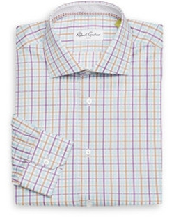 Regular-Fit Plaid Check Cotton Dress Shirt by Robert Graham in Ashby