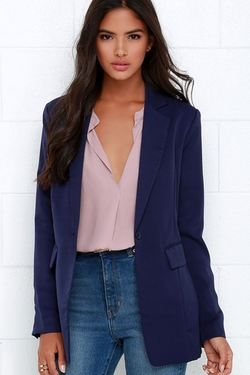 How Goes It Navy Blue Blazer by Lulu's in The Forest