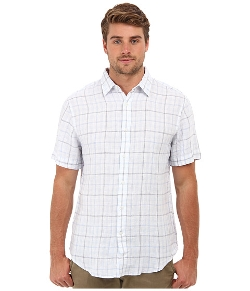 Slim Fit Linen Ombre Windowpane Shirt by Perry Ellis in McFarland, USA