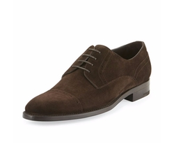 Cap-Toe Suede Derby Shoes by Ermenegildo Zegna in New Girl