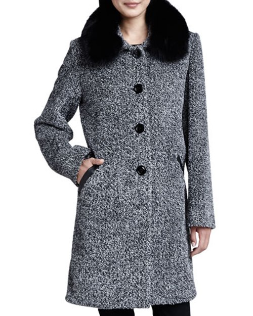 Tweed Button-Front Fur Collar Coat by Sofia Cashmere in That Awkward Moment