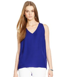 Silk V-Neck Tank Top by Ralph Lauren in Begin Again