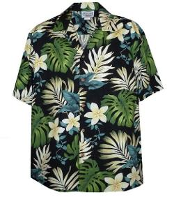 Tropical Floral Monstera and Plumeria Hawaiian Shirt by Pacific Legend in Savages