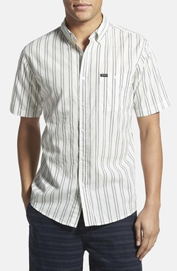 'Howl' Trim Fit Short Sleeve Stripe Woven Shirt by Brixton in Black Mass