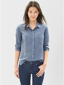 Fitted Boyfriend Chambray Shirt by Gap in We're the Millers