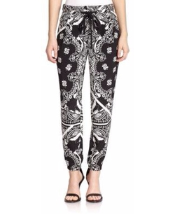 Patchwork-Print Silk Track Pants by Tibi in Scream Queens