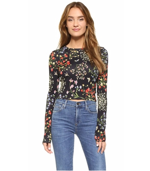 Delaina Cropped Crew Neck Tee by Alice + Olivia in New Girl - Season 5 Episode 11