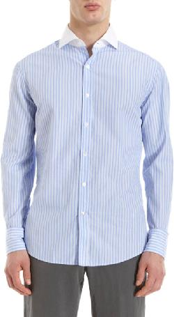 Striped Contrast Collar Dress Shirt by MICHAEL BASTIAN in The Wolf of Wall Street