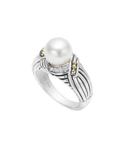 Luna Diamond & Pearl Twist Small Ring by Lagos in Scream Queens