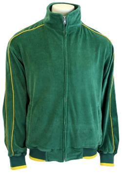 Green Mens Velour Track Jacket with Gold Piping by Sweatsedo in Get On Up