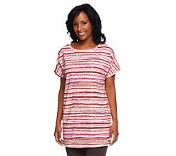 Striped Knit Tunic Top by Denim & Co. in Her