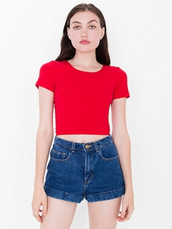 Cotton Spandex Jersey Crop Tee by American Apparel in Scream Queens
