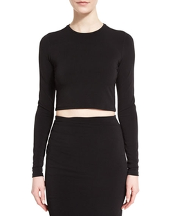 Long-Sleeve Jet Cropped Top by Alice + Olivia in Keeping Up With The Kardashians