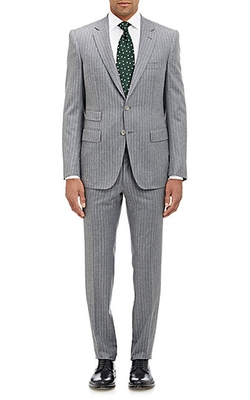 Striped Marbeuf Two-Button Suit by Cifonelli in Black-ish
