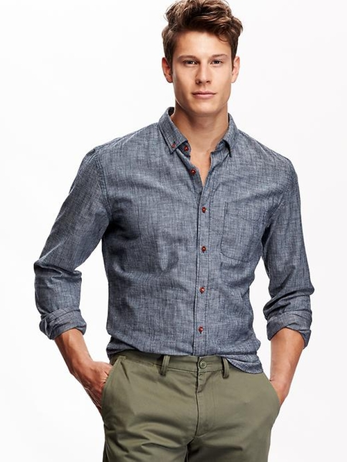 Slim-Fit Chambray Shirt by Old Navy in The Vampire Diaries - Season 7 Episode 2