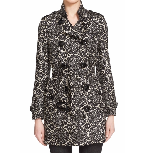 Kensington Lace Print Silk Trench Coat by Burberry London in Arrow