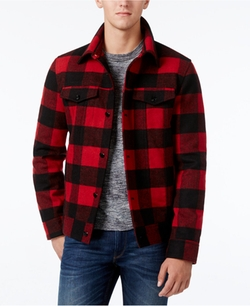 Buffalo Plaid Wool Trucker Jacket by American Rag in Why Him?