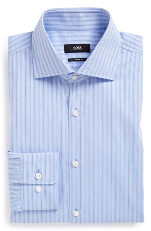 'Miles Us' Sharp Fit Stripe Dress Shirt by Boss Hugo Boss in Boyhood