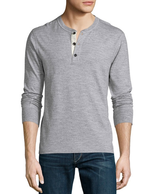 Basic Long-Sleeve Henley Shirt by Rag & Bone in Imaginary Mary - Season 1 Preview