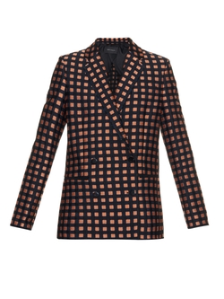 Double-Breasted Check-Jacquard Blazer by Cédric Charlier in Empire