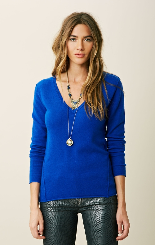 Seamed V Neck Sweater by Blu Moon in Ballers