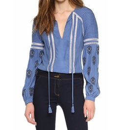 Alpine Embroidered Boho Blouse by Veronica Beard in Billions