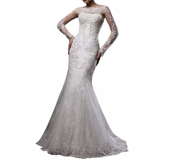 Boat Neck Lace Mermaid Wedding Dress by Cloverdress in Fifty Shades Freed