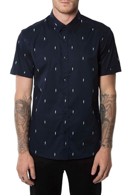 'Supercharged' Short Sleeve Print Woven Shirt by 7 Diamonds in Master of None
