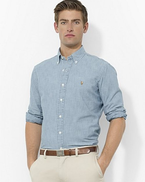 Chambray Classic Button Down Shirt by Polo Ralph Lauren in Neighbors