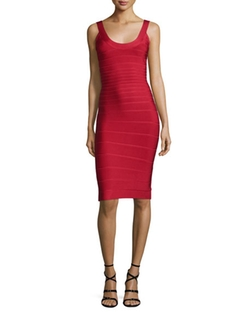 Scoop-Neck Bandage Dress by Herve Leger in Arrow