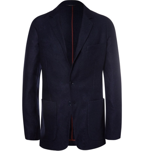 Navy Unstructured Suede-Trimmed Silk And Cashmere-Blend Blazer by Loro Piana in Empire - Season 2 Episode 6